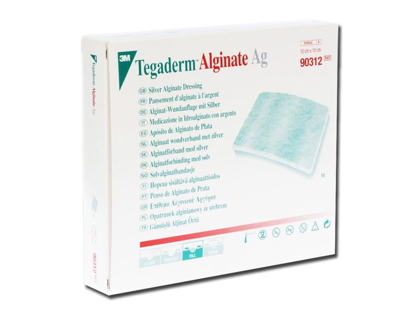 TEGADERM™ 3M ALGINATE AG - 10 x 10 cm - argento