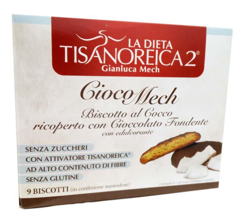 TISANOREICA 2 CIOCOMECH AL COCCO CON CIOCCOLATO FONDENTE 9 BISCOTTI