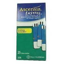 ASCENSIA EASYFILL STRISCE REATTIVE - 25 PEZZI