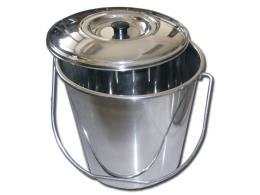 CESTINO ACCIAIO INOX - con coperchio - 12 l