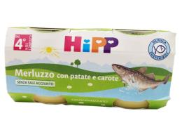 HIPP OMOGENEIZZATO MERLUZZO CON PATATE E CAROTE DAL QUARTO MESE 2x80 G