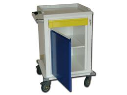 MODULAR TROLLEY - painted steel - 1 drawer + 1 shelf