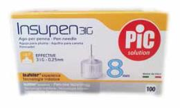 PIC SOLUTION INSUPEN 31G AGO PER PENNA - 100 PEZZI DA 8 MM